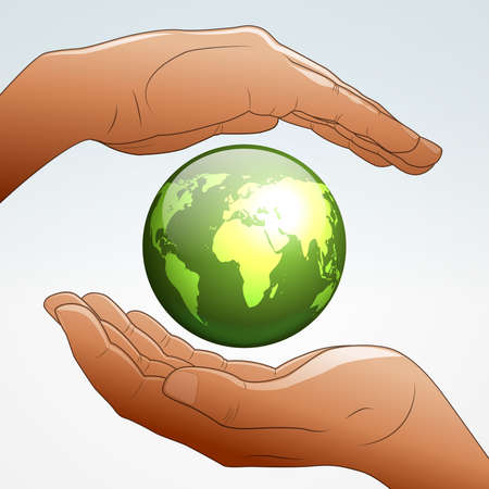 Earth supported by hands