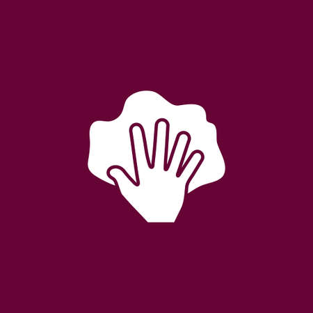 Hand with rag icon simple cleaning sign vector illustration