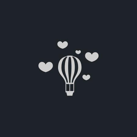 Balloon with heart icon simple travel sign honeymoon vector love illustration