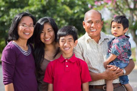 Happy ethnic island family.