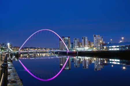 Millenium Bridge between Newcastle upon Tyne and Gateshead, England, at Night