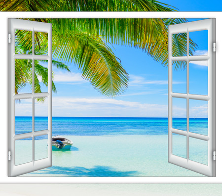 Photo pour open window view of the sea good weather summer - image libre de droit