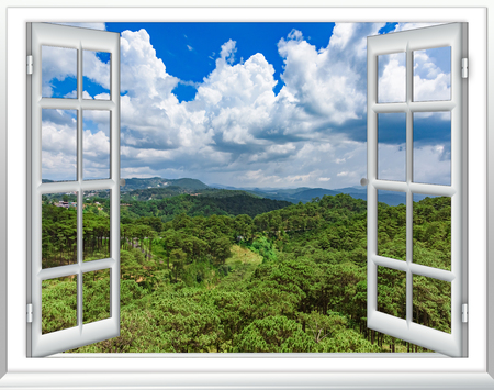 Photo pour View from the window from the height of tropical green jungle blue sky with clouds, Vietnam - image libre de droit