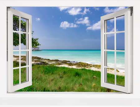 Photo for Ocean view from the window on the island of sunny summer day - Royalty Free Image