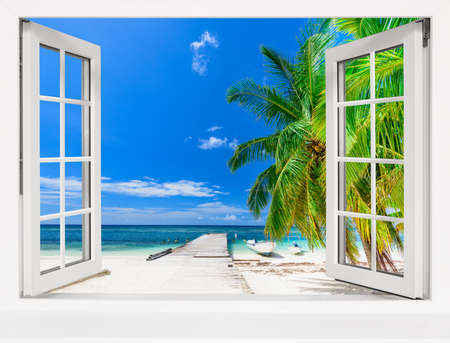 Photo for summer sunny day the view from the window on the sea beach with tree - Royalty Free Image