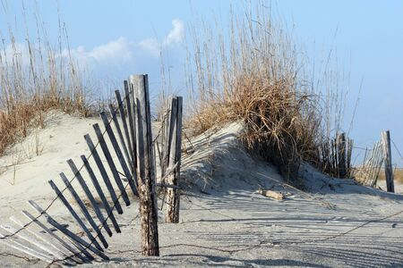 A broken fence running through sand dunes and sea oats against a blue sky