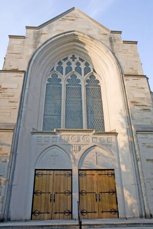Massive doors and entrance to a presbyterian church