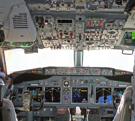 Cockpit in modern airliner