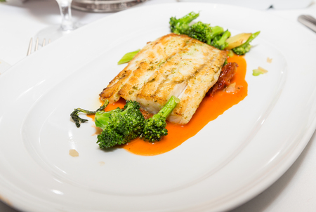 Tilapia and Broccoli in sauce
