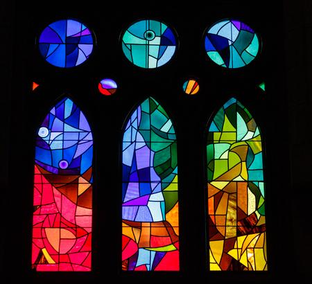 Foto de Modern Stained Glass in an old Spanish Church - Imagen libre de derechos