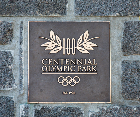 Atlanta, GEORGIA - May 3, 2015: Centennial Park was developed for the 1996 Olympics. The Olympic Park Bombing took place just a few hundred feet from this view.
