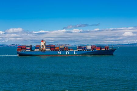 Photo for MOL Freighter in the Bay - Royalty Free Image
