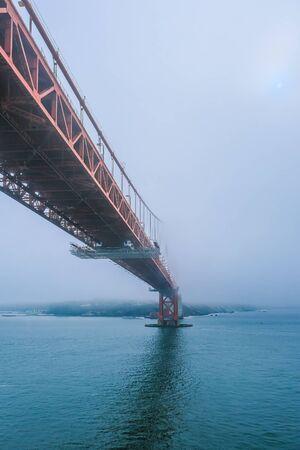 Photo pour Golden Gate Bridge Rising into Fog in San Francisco - image libre de droit