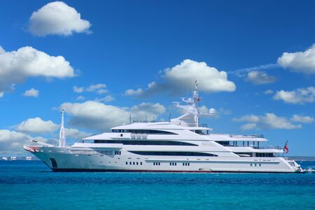 Photo for White Luxury Yacht on Blue Ocean - Royalty Free Image