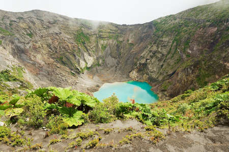View to the crater of the Irazu active volcano situated in the Cordillera Central close to the city of Cartago, Costa Rica.