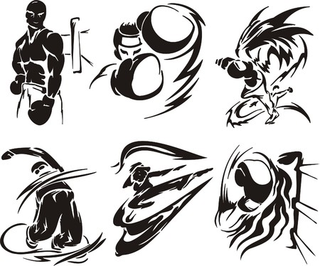 Boxing and  Karate. Extreme sport. illustration. Vinyl-ready.