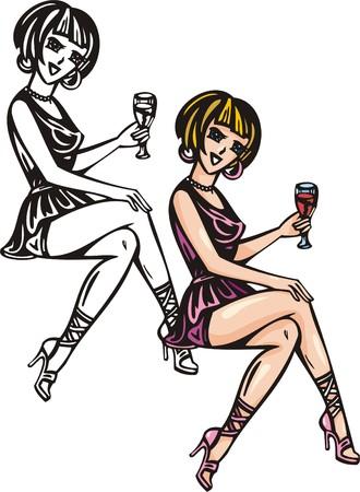 Beautiful girl having crisscrossed legs have drunk wine.