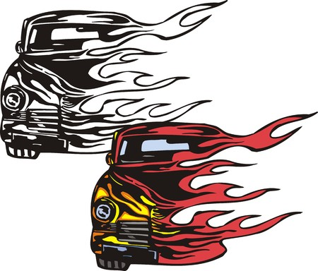 The yellow car half on fire. Flaming hotrods.  illustration - color   b/w versions.