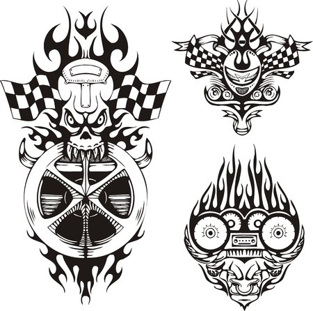 Skull with flags and a horned demon. Racing compositions. Vector illustration ready for vinyl cutting.