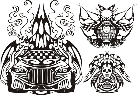 The racing car in a smoke and two demonic symbols. Racing compositions. Vector illustration ready for vinyl cutting.