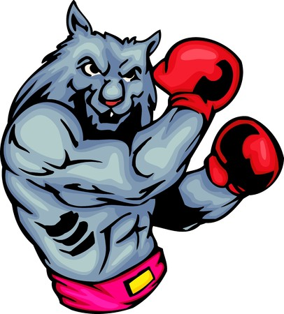 Grey wolf in red boxing gloves. Sport mascot animals.  illustration - color   b/w versions.