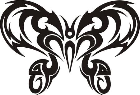 Illustration pour Tribal Butterflies.Vector illustration ready for vinyl cutting. - image libre de droit