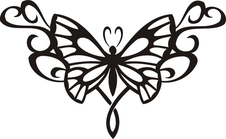 Tribal Butterflies.Vector illustration ready for vinyl cutting.