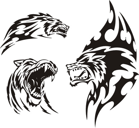The wolf has opened a mouth. Tribal predators. Vector illustration ready for vinyl cutting.