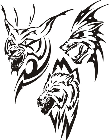 Lynx with sharp canines and two wolves. Tribal predators. Vector illustration ready for vinyl cutting.