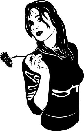 Beautiful Girl with a flower. Girls.Vector illustration ready for vinyl cutting.