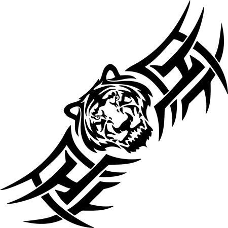 Illustration pour Tiger and symmetric tribals  - image libre de droit