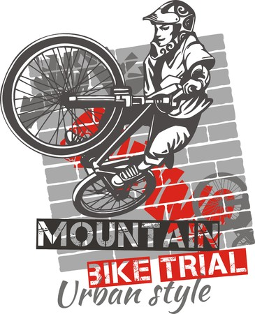 Mountain bike trial - urban style - vector illustration