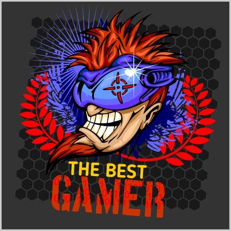 The Best Gamer -  Emblem for T-Shirt  - Vector Design