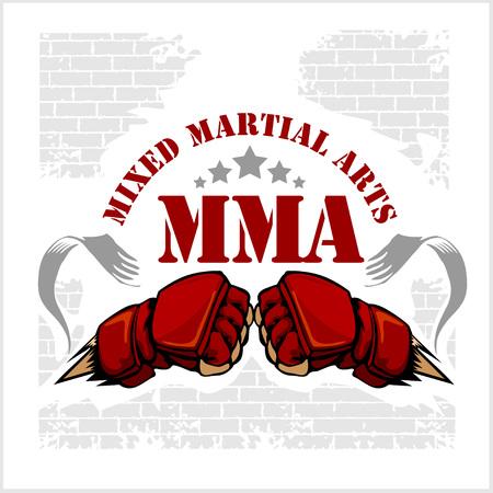 MMA mixed martial arts emblem badges. Vector emblem.