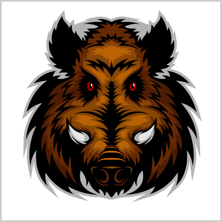 Illustration pour Wild Boar Head Logo Mascot Emblem - color on white - image libre de droit