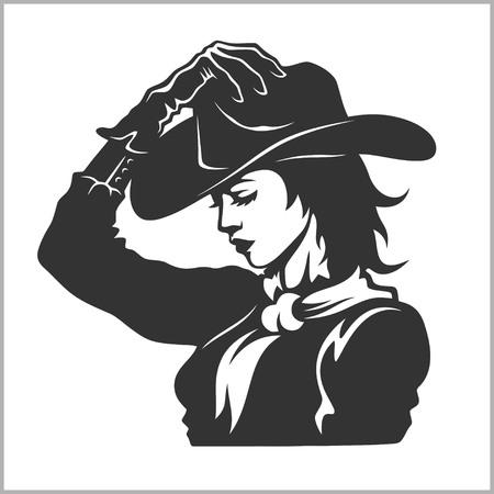 Ilustración de Cute Cowgirl 2 - Retro Clip Art vector illustration - Imagen libre de derechos