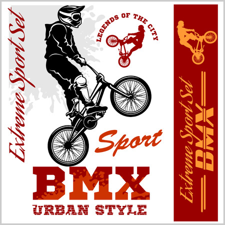 BMX t-shirt Graphics. Extreme bike street style. Vector BMX cyclist