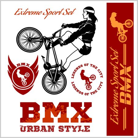 BMX t-shirt Graphics. Extreme bike street style - Vector BMX cyclist