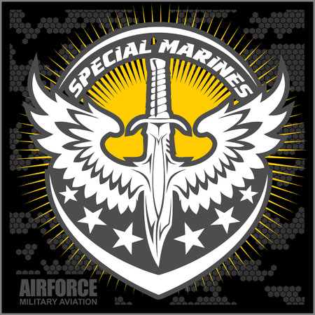 Fighter squadron airforce - military aviation -  illustration.