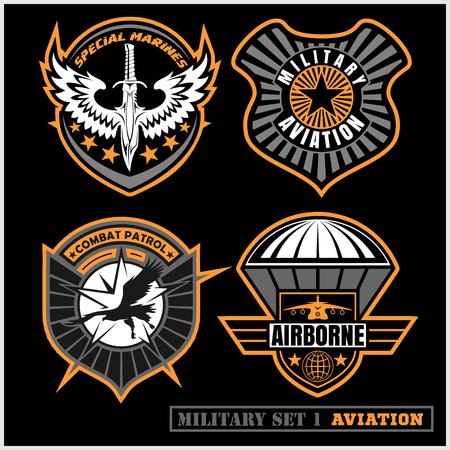 Ilustración de Set of military and army badge and patches typography, for t shirt and other uses. - Imagen libre de derechos