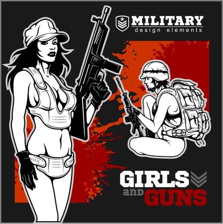 Illustration pour Beautiful pinup girls holding a gun - image libre de droit
