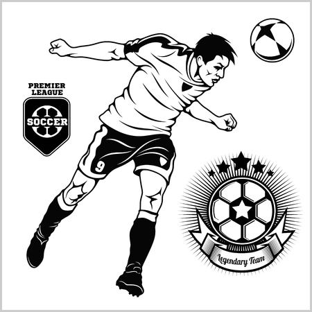 Illustration pour Soccer football player running and kicking a ball - sports illustration - image libre de droit