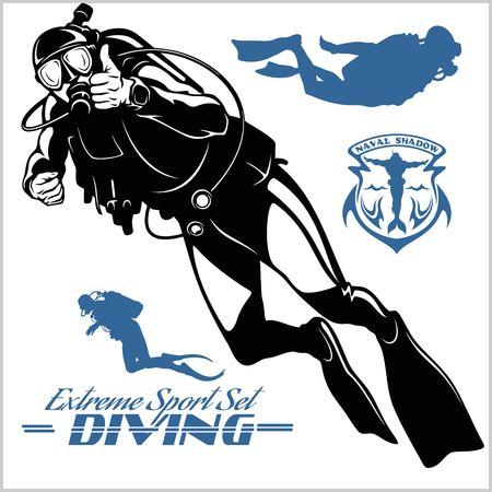 Illustration pour Set of scuba diver silhouette and diving labels - image libre de droit