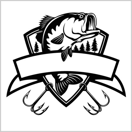 Fishing logo. Bass fish with template club emblem. Fishing theme vector illustration. Isolated on white.