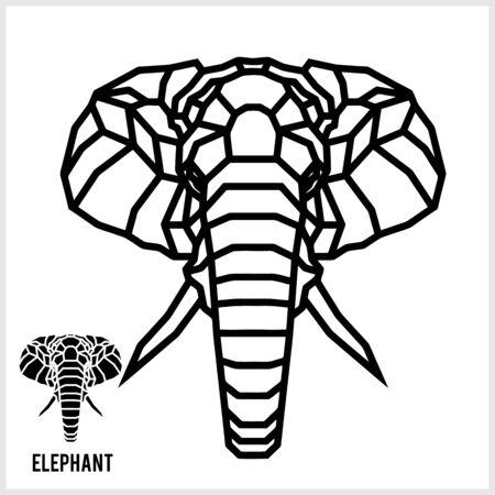 Ilustración de Abstract linear polygonal head of a elephant. Vector. - Imagen libre de derechos