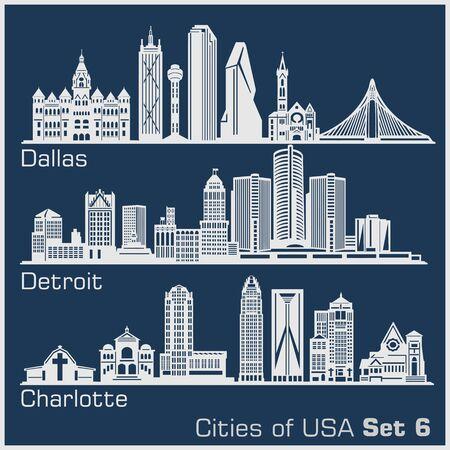 Illustration pour Cities of USA - Dallas, Detroit, Charlotte. Detailed architecture. Trendy vector illustration. - image libre de droit
