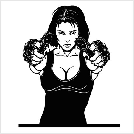 Illustration pour Beautiful woman holding a guns vector illustration isolated on whiye - image libre de droit