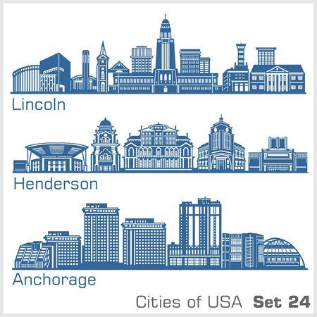 Illustration pour Cities of USA - Lincoln, Henderson, Anchorage. Detailed architecture. Trendy vector illustration. - image libre de droit