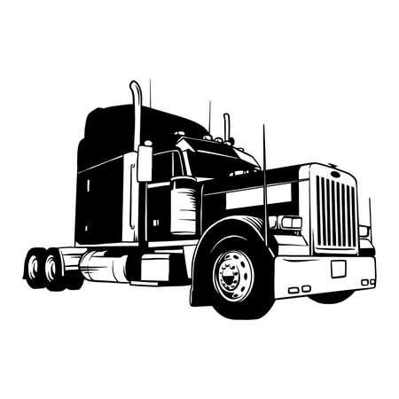 Illustration pour American Truck - black and white vector illustration - image libre de droit