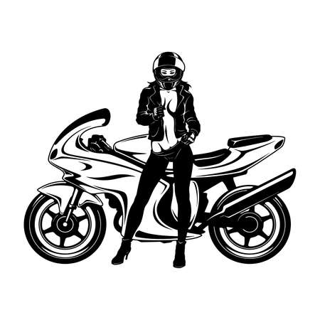 Illustration pour Sexy Girl and Sport Motorcycle - Suberbike, Super Bike - Clipart, Vector Silhouette - image libre de droit